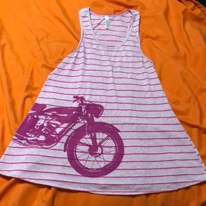 Pink racer back tank with motorcycle graphic